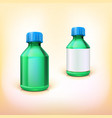 Green medical bottle with blue lid vector image