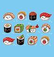 kawaii rolls and sushi manga cartoon set vector image