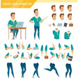 office worker constructor cartoon set vector image