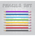 rainbow colors pencils collection with vector image