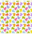 Seamless Pattern Colorful Thumb Up Icon vector image