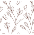 Sketchy seamless pattern with flowers and butterfl vector image