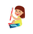 sweet little girl character sitting on the floor vector image