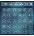 thin line digital gadget set icons concept vector image