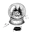 Snow globe with house and fir tree inside vector image