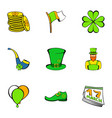 leprechaun icons set cartoon style vector image