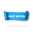 blue curved paper ribbon banner with rolls vector image