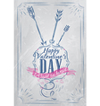 Valentines Day Poster coat blue vector image vector image