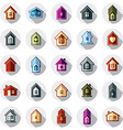 Colorful different houses icons for use in graphic vector image