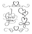 i love you text with hearts on white background vector image