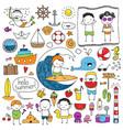 summer doodle set vector image