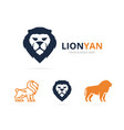 unique animal and lion logotype design template vector image