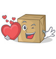 with heart cardboard character character vector image