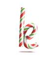 letter k  3d realistic candy cane alphabet vector image