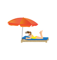 Woman lying under a beach umbrella vector image