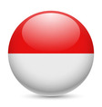 Round glossy icon of indonesia vector image