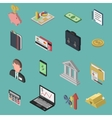 Bank Isometric Icon Set vector image