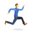 One caucasian running man training young sprinter vector image