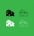 piece cheese icon black and white color set vector image