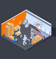 robotic warehouse workers composition vector image
