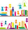 Cartoon children playing on book shelves vector image