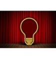Bulb on stage curtain vector image