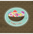 background with easter eggs and label vector image
