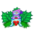 Christmas decoration Snowman and maple leaves vector image