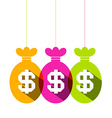 Dollar Sign in Colorful Bags Set - Flat Design vector image