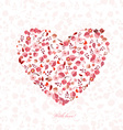 floral heart with birds and butterflies for your vector image
