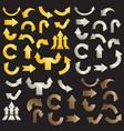 golden arrows silver arrows and copper arrows vector image