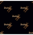 Seamless pattern with golden text butterfly vector image