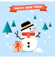 Snowman Flat Card vector image