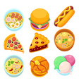 - dishes food dessert and meal tasty vector image