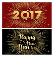 New Year 2017 gold firework greeting card set vector image vector image