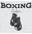 Old label with boxing gloves vector image vector image