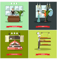 set of shops posters in flat style vector image