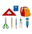 School supplies and objects in cartoon style vector image