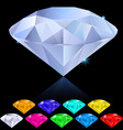 diamonds in different colors vector image vector image