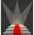 With a red carpet Podium and searchlights Lighting vector image