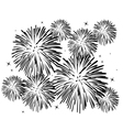 black and white fireworks vector image vector image