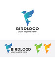 abstract blue bird logo vector image