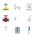 Bathroom icons set flat style vector image
