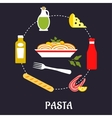 Italian pasta with ingredients flat infographic vector image