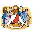 Jesus sharing the bread vector image