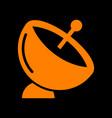 satellite dish sign orange icon on black vector image