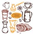 sketch coffee icon set vector image