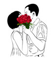 bride and groom kiss in love couple vector image