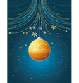 blue christmas card with golden ball vector image