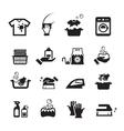 Laundry washing icons set vector image